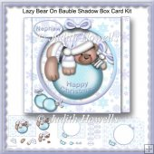 Lazy Bear On Bauble Shadow Box Card Kit