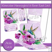 Watercolour Hummingbird & Flower Easel Card