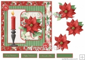 Poinsettia and Christmas candle