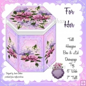 FOR HER ROSES AND LACE HEXAGON GIFT BOX AND TAG