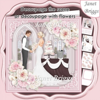 WEDDING TO HAVE & TO HOLD 7.5 Decoupage Card & Insert
