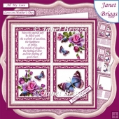 PINK ROSES BUTTERFLIES & VERSE SQUARES 7.5 Quick Card & Insert