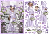 Sweet Little Basket of Lilac Flowers A5 Card Front & Decoupage