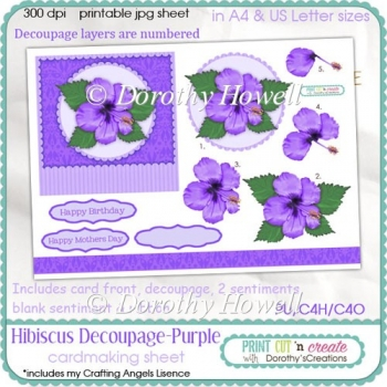Hibiscus Decoupage Card Front ~ Purple