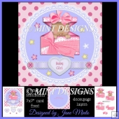 NEW BABY GIRL CARD KIT WITH INSERTS ETC