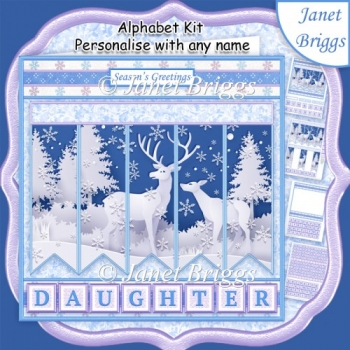 FOREST DEER Christmas 7.5 Quick Card Kit Create Any Name