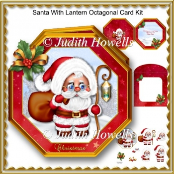 Santa With Lantern Octagonal Card Kit