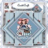 Little vintage girl triangle pop up card set