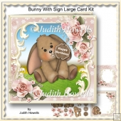 Bunny With Sign Large Card Kit
