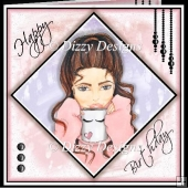 Brunette Birthday Girl Card Front & Inserts