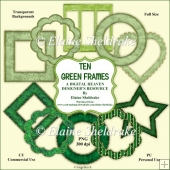Ten Green Frames - Designer Resource For Commercial Use - CU/PU