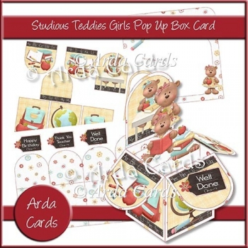 Studious Teddies Girls Pop Up Box Card