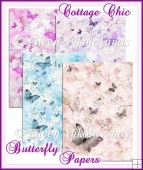 Cottage Chic Butterfly Backing Papers Set