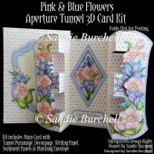 Pink & Blue Flowers Aperture Tunnel 3D Card Kit