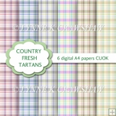 COUNTRY FRESH TARTANS - 6 digital papers/backgrounds A4 size
