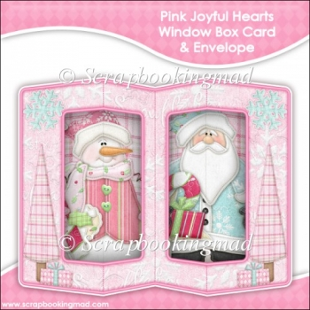 Pink Joyful Heart Double Window Box Card and Envelope