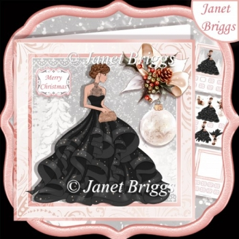 CHRISTMAS LADY IN BLACK EVENING DRESS 7.5 Decoupage & Insert Kit