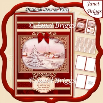 A5 RED & GOLD CHRISTMAS WINTER HAMLET Quick Layer Card Kit