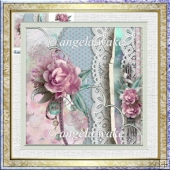 Roses and lace 7x7 card with decoupage