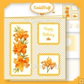 Orange lily scalloped square card set