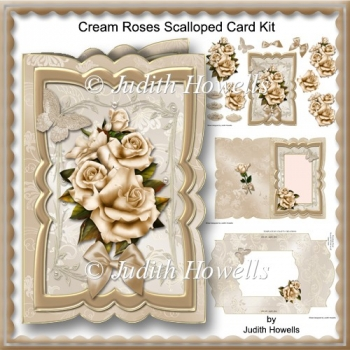 Cream Roses Scalloped Card Kit