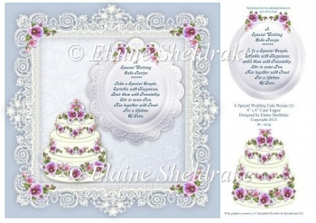 "Wedding Cake Recipe For Happiness - 8"" x 8"" Card Topper"