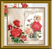 Vintage red rose card with decoupage