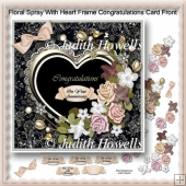 Floral Spray With Heart Frame Congratulations Card Front