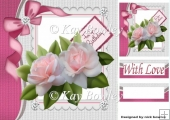 pretty blush pink roses with sparkle bow 8x8
