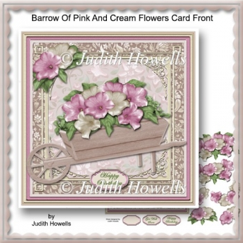 Barrow Of Pink And Cream Flowers Card Front