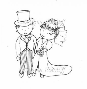 Home :: Digital Stamps / Line Art :: Bride and Groom Digital Stamp