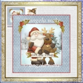 Santa and his reindeer 7x7 card with decoupage
