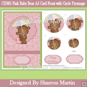 CDS81 Pink Baby Bear A5 Card Front with Circle Pyramage