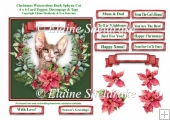 Christmas Poinsettias Watercolour Sphynx Cat - 6 x 6 Card Topper