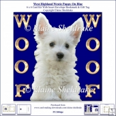 Woof Woof West Highland Terrier On Blue 6 x 6 Card Kit