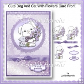 Cute Dog And Cat With Flowers Card Front