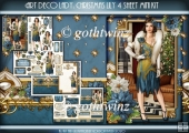 Art Deco Lady Lily Christmas 4 Sheet mini Kit Blue