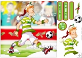 White and Green Footballer Dude Christmas 8x8 With Insert