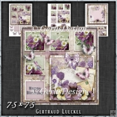 Shabby Vintage Floral Card Kit Purple 1449