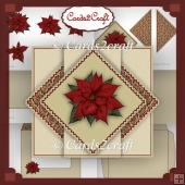 Christmas poinsettia triangle pop out card set