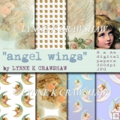 ANGEL WINGS - 8 x A4 high quality digital paper pack