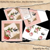 Shabby Chic Vintage Roses _ Blue Bird 8x8 Mini Card Kit
