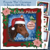 Friends 'Hat' Christmas ~ Horse and Robin 8x8 Mini Kit