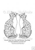 Curious Tabby Cats - A5 Digi Stamp