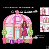 Teenage Girl Birthday Boutique Shaped Card