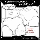 Heart Wrap Around Gatefold Card Template