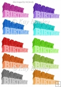 10 Coloured Funky 3D Tags