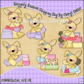 Raggedy Bunnies Shopping Day ClipArt Graphic Collection