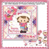 Girl With Basket Of Flowers Birthday Card Front