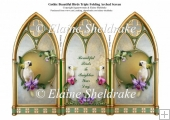 Cockatoo With Orchids & Gothic Triple Screen Card